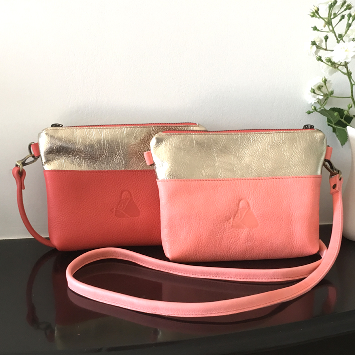 handmade leather bag My treasure in peach and coral