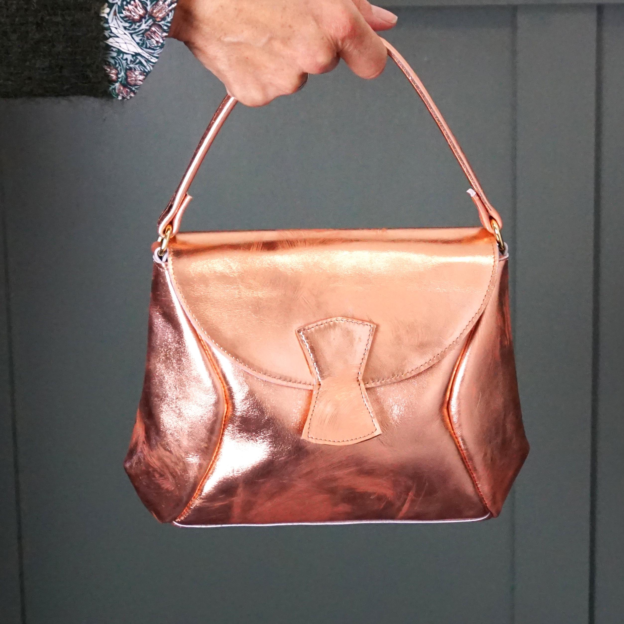 copper leather handbag chic handmade by studio van leeuwen