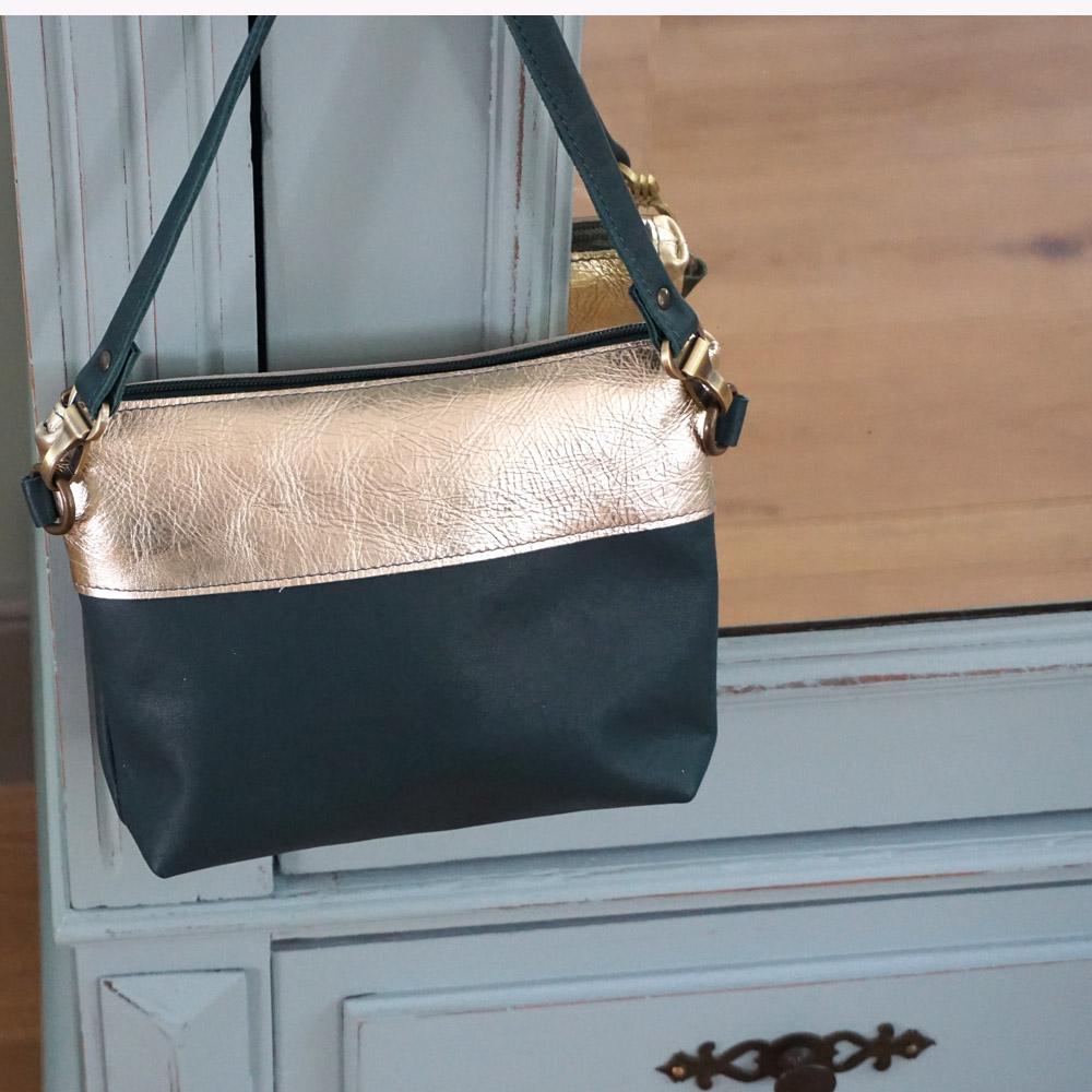 handmade leather bag green and gold my treasure