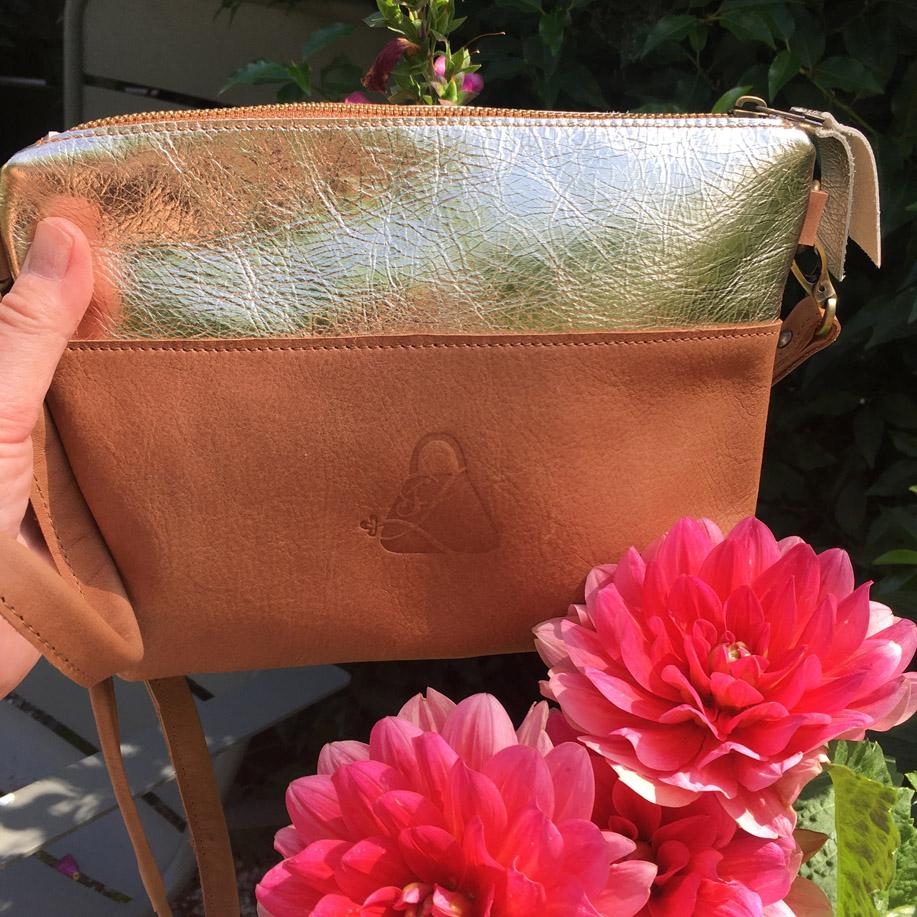handmade leather bag congac
